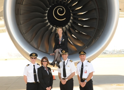 "Delivery team for VH-OQD ""Fergus McMaster"" (QF founder & first Chairman) delivered SIN-SYD 24 Aug 2009."