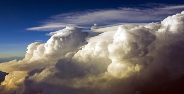 Thunderstorm bashing up against the tropopause as we crossed the ITCZ over the Pacific Ocean on 24 December 2012.