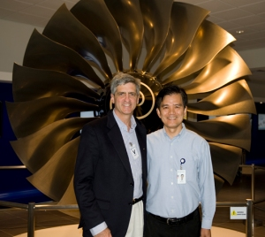 Tin Ho, Rolls-Royce Operations Director , Seletar Assembly and Test Unit, Singapore, in front of an A380 Trent 900 fan assembly. (Courtesy Richard de Crespigny)