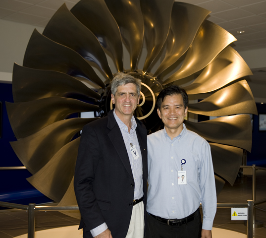 Tin Ho, Rolls-Royce Operations Director , Seletar Assembly and Test Unit, Singapore, in front of an A380 Trent 900 fan assembly.