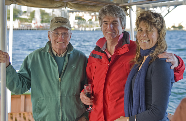 Neil Armstrong, Peter Ford, Sally Loane on Sydney Harbour, August 2011 (Courtesy Richard de Crespigny)