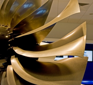 A380 (Trent 900) fan blades, showing the wide chord, forward and aft sweep, and extensive washout. (Photo: RDC)