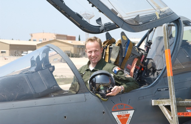 Lieutenant-colonel Hervé de Saint-Exupéry of the French Air Force in his Mirage 2000