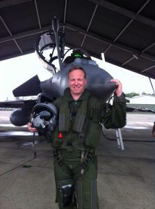 Lieutenant-colonel Hervé de Saint-Exupéry of the French Air Force just after a flight in a French Rafale