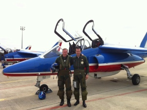 "Lieutenant-colonel Hervé de Saint-Exupéry of the French Air Force after a flight with the French ""Patrouille de France"""