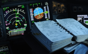 Vale to the paper aviation naviagtion airport charts that Airlines have used for almost a century. Airlines are replacing paper with iPads and tablet PCs. (Photo courtesy Richard de Crespigny)