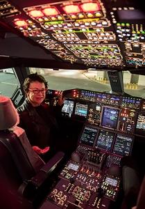 A happy passenger in Nancy-Bird Walton's cockpit in Dubai after a great flight (May 2015)