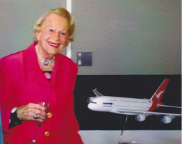 Nancy-Bird at her 90th Birthday Party with her namesake A380 (Courtesy Heather Parker)