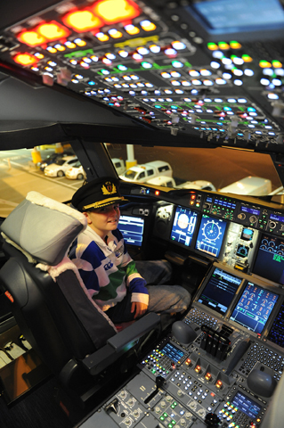 Sam Harris in an A380 Cocpit