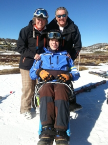 Amanda Gannon (DWA Guide and Qantas Flight Attendant), Walter Cole with Declan (They skied for four days. Perhaps Declan will aspire to train for the APC!