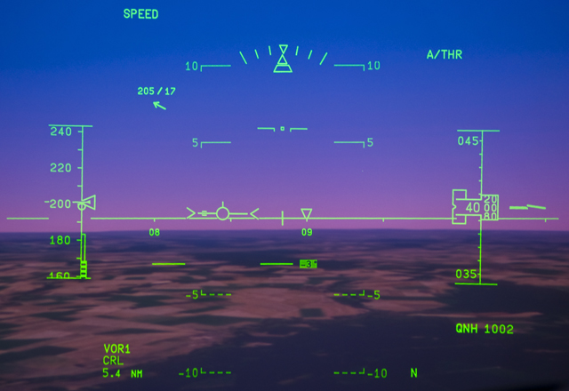 Today, view through the Head Up Display (A380)  (Photo Richard de Crespigny)