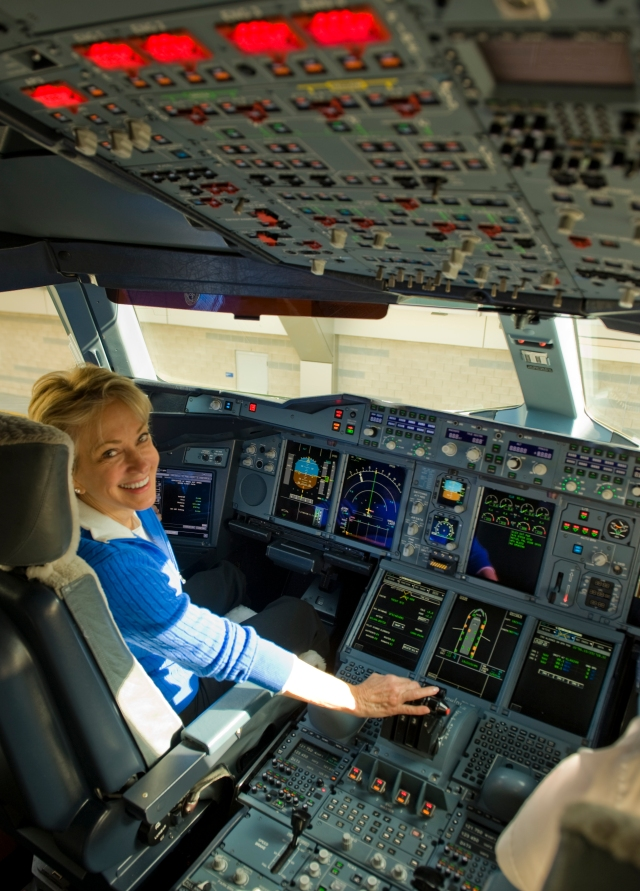 Former American Airlines cabin attendant experiencing the delights of our A380 (Photo R de Crespigny)