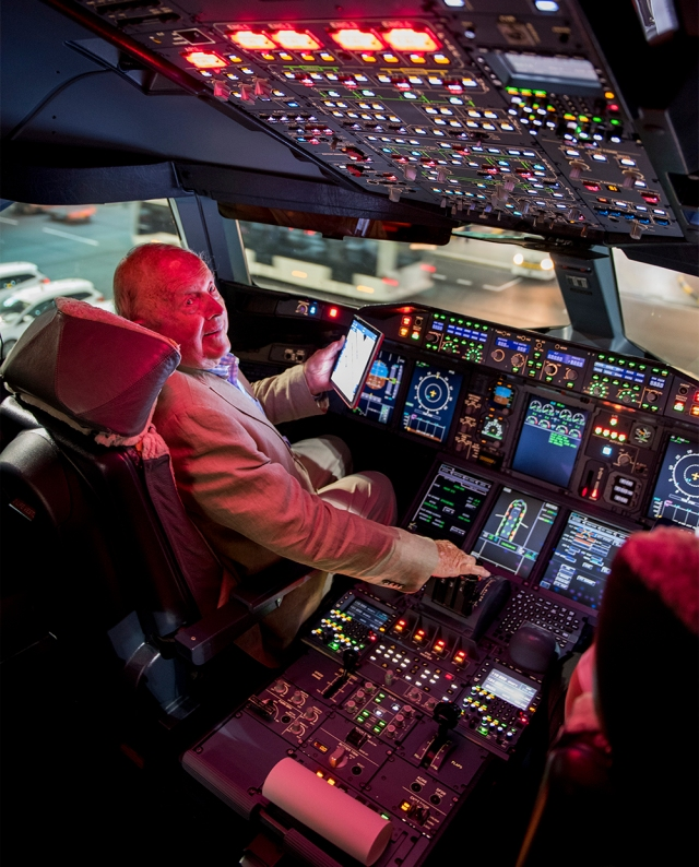 Mr Nigel Creese, in the A380 cockpit