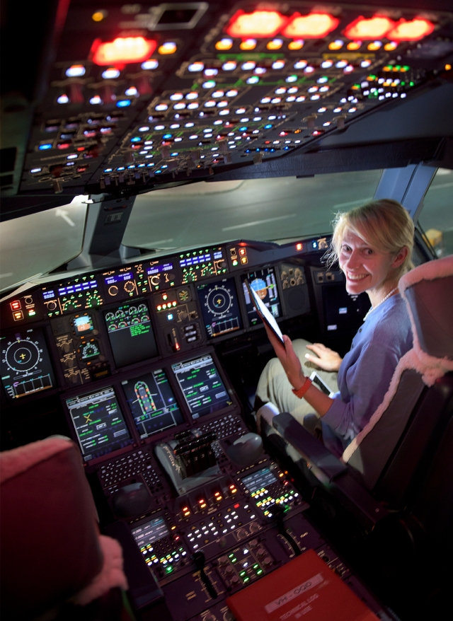 First stop on Jossie Harris' honeymoon - the A380 cockpit (VH-OQD) (26Aug15)