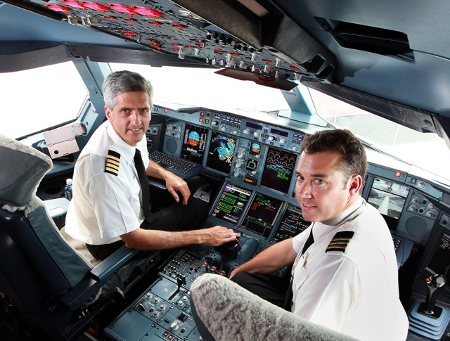 Matt Hicks in the A380 cockpit - December 2010 (Photo: The Australian)