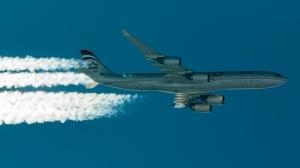 "Qatar A340 ""conning"" at 42,000 feet."