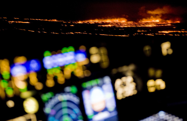 Bush fires north of Alice Springs, Australia from 35,000 feet. (RDC)