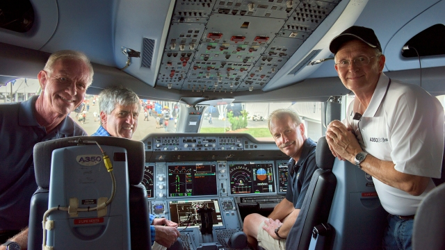Sully, Jeff Skiles and former Airbus Test Pilot Terry Lutz in the Airbus A350 cockpit at Oshkosh 2015