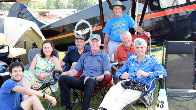 Coral with Sully and Jeff and other aviation diehards at Oshkosh 2015