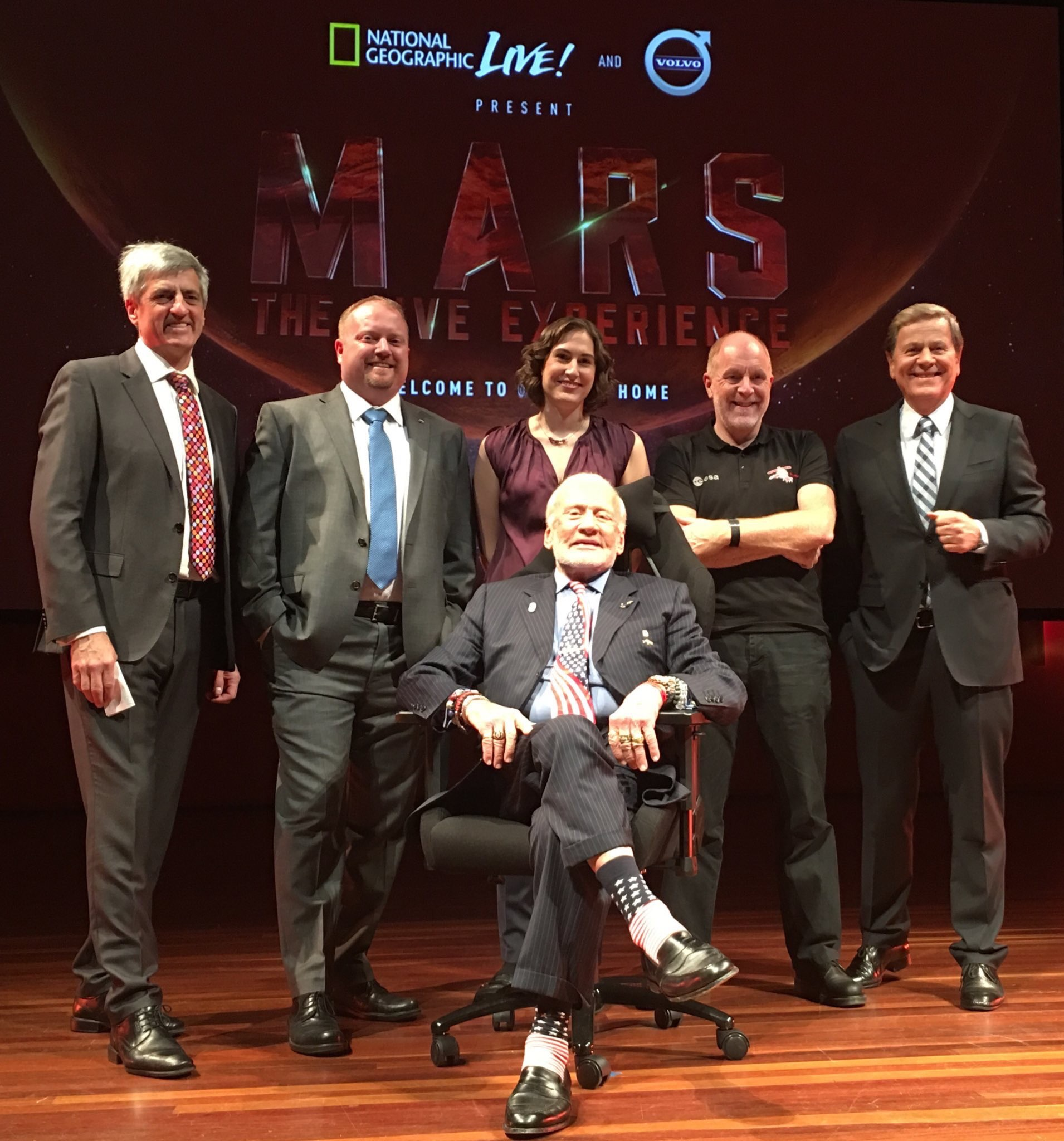 Jason Crusan, Dr Katherine Mack, Prof Mark McCaughrean, Ray Martin and Buzz prior to the Canberra performance 7Nov2016.