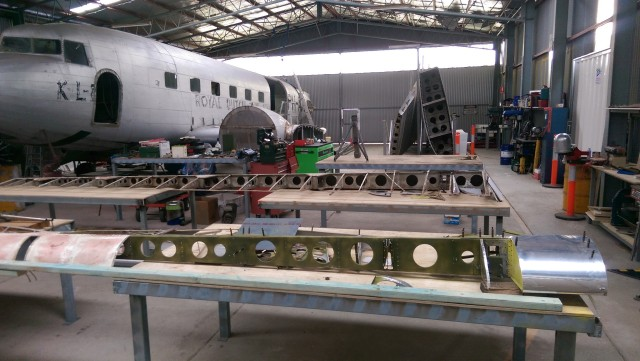 The Uiver in the restoration hangar.